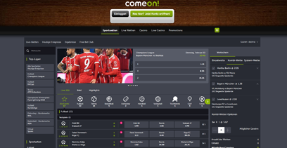 Comeon Webseite