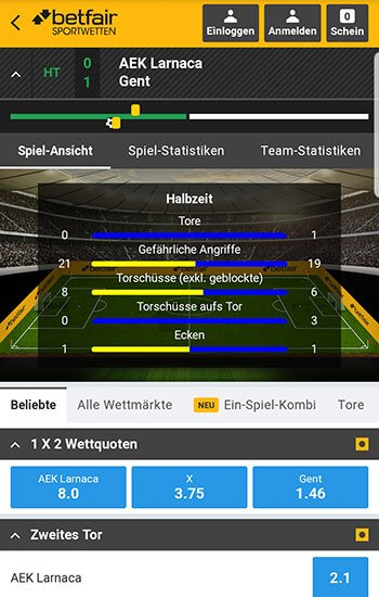 Betfair Live Wetten Center
