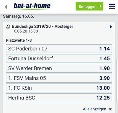 Bet-at-home Bundesliga Absteiger Quoten