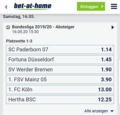 Bet-at-home Bundesliga Absteiger Quoten