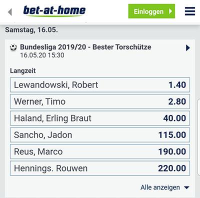 Bet-at-home Bundesliga Torschuetzenkoenig Quoten