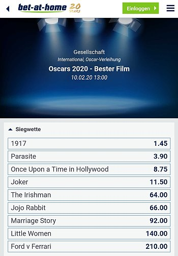 Oscars 2020 Wetten Bet-at-home
