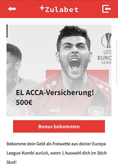 Zulabet Europa League Kombi Versicherung