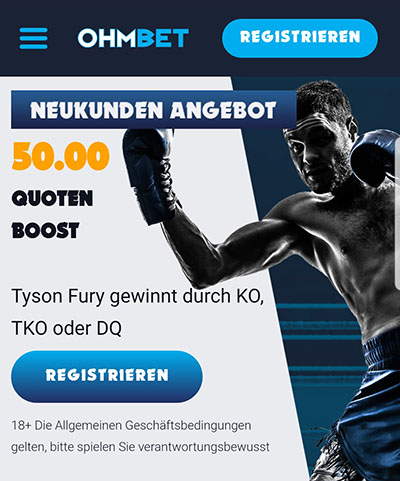 Ohmbet Fury vs Wilder Quotenboost