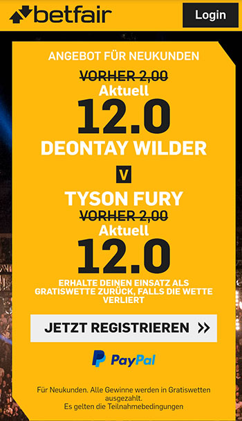 Wilder vs Fury Quotenboost Betfair