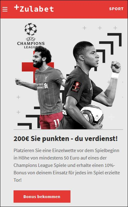 Zulabet Champions League Bonus