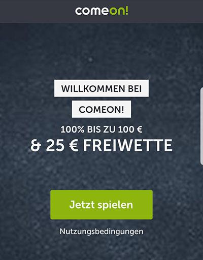 ComeOn Bonus Freiwette