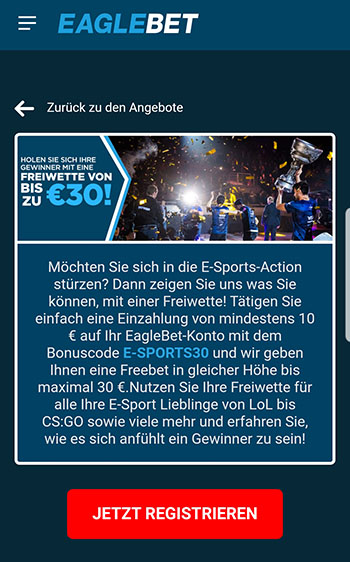 Eaglebet E-Sports Freebet