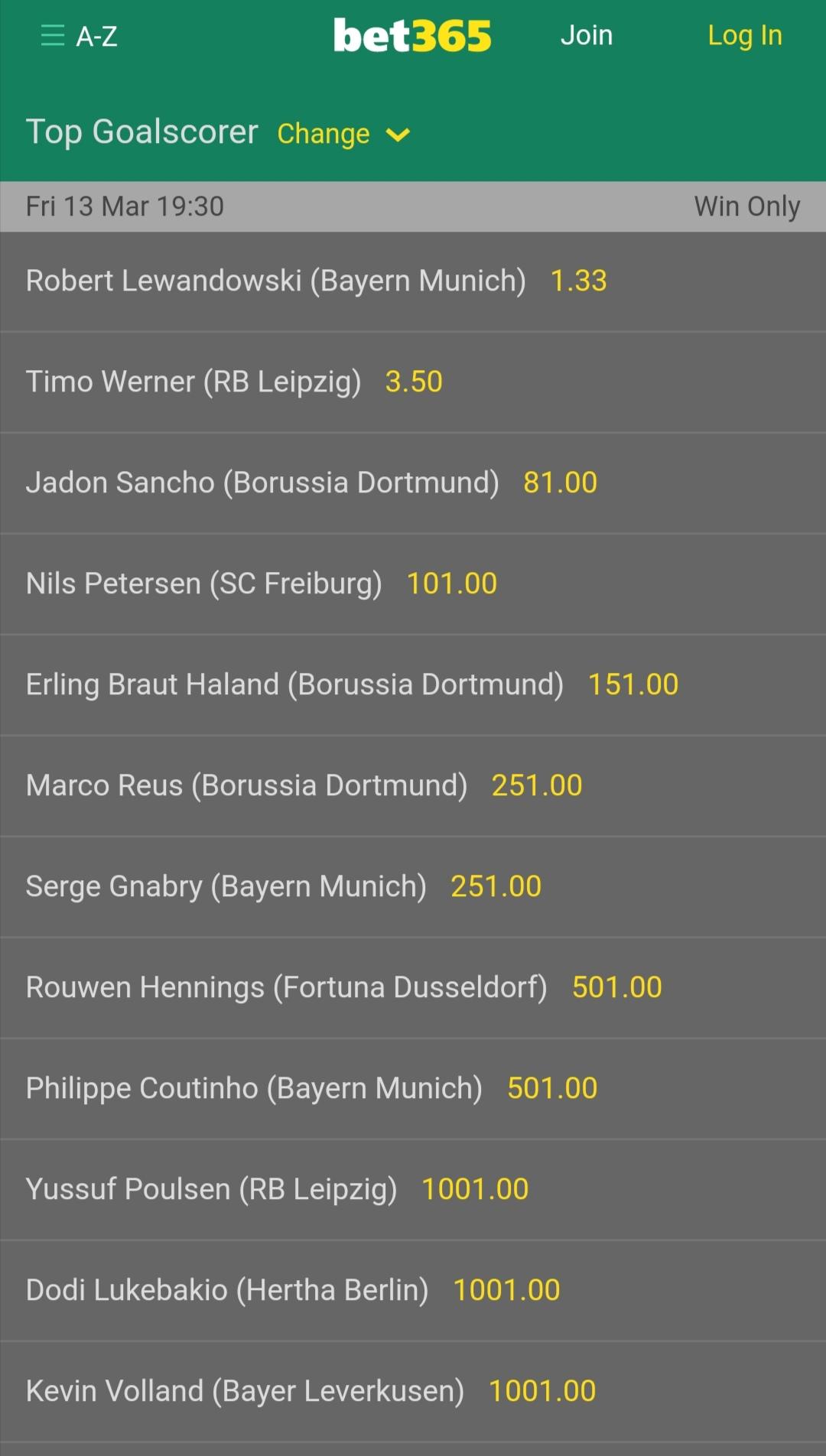 Bundesliga Torschützenkönig Quoten