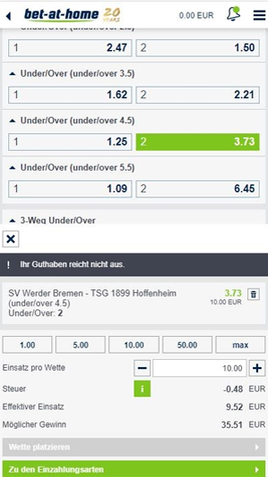 Bet at home Livewetten Abgabe