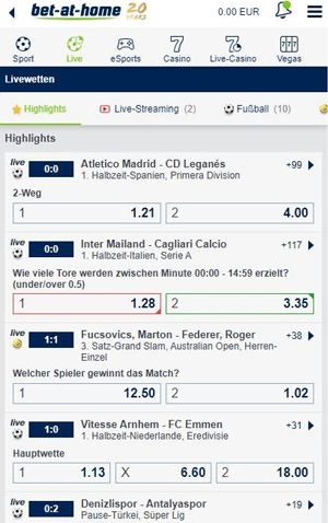 Bet at home Livewetten Fussball