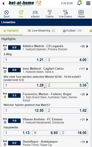 Bet at home Livewetten Fussball