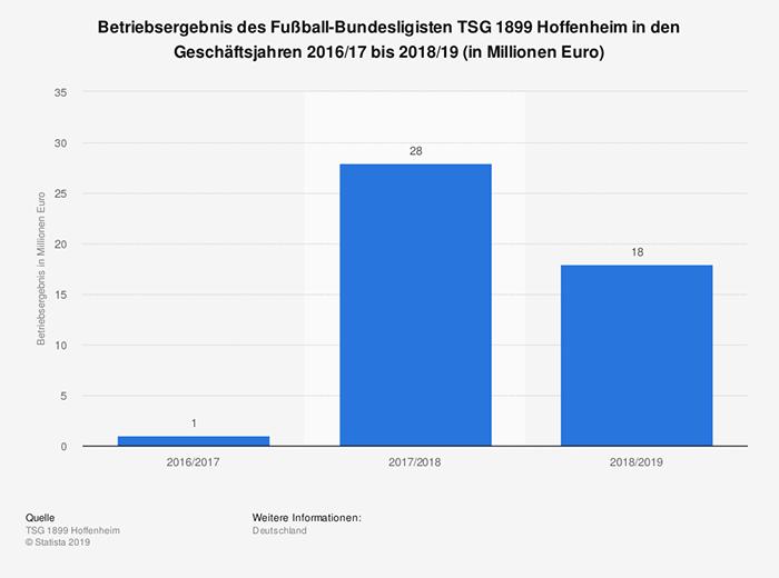 Betriebsergebnis des Fußball-Bundesligisten TSG 1899 Hoffenheim bis 2019