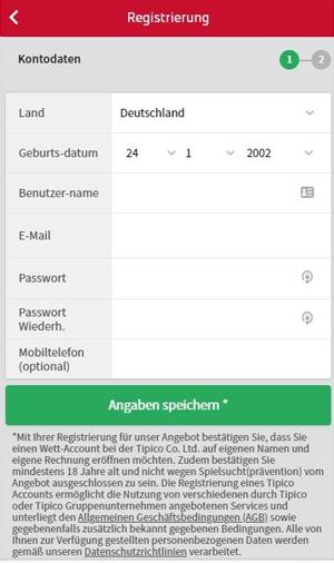 Tipico Registrierung