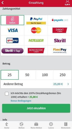 Tipico Einzahlungen