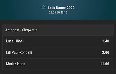 Let's Dance Sieger Wettquoten