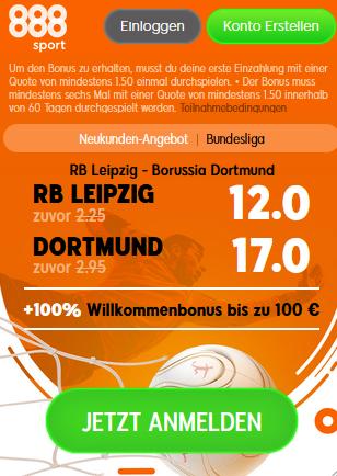 888sport Leipzig vs Dortmund Quotenboost
