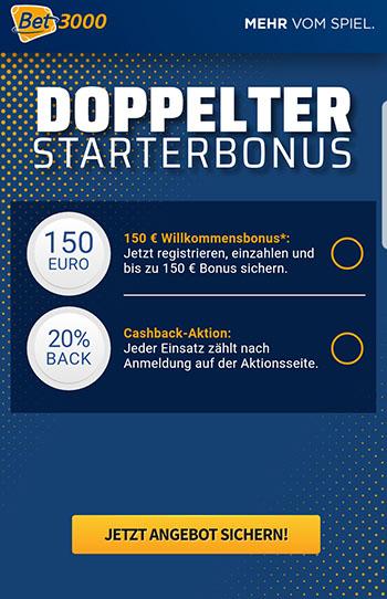 Bet3000 Bonus + Cashback