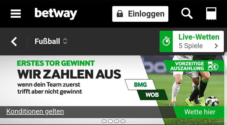 Betway Gladbach vs Wolfsburg Cashout