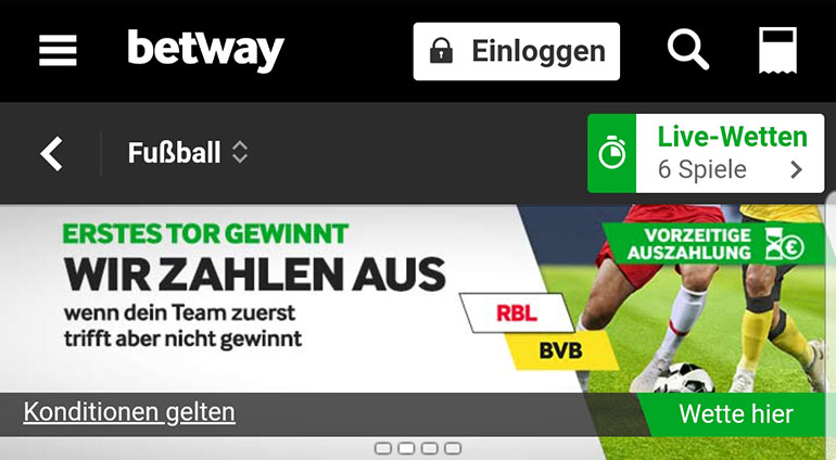Betway Leipzig vs Dortmund Cashout