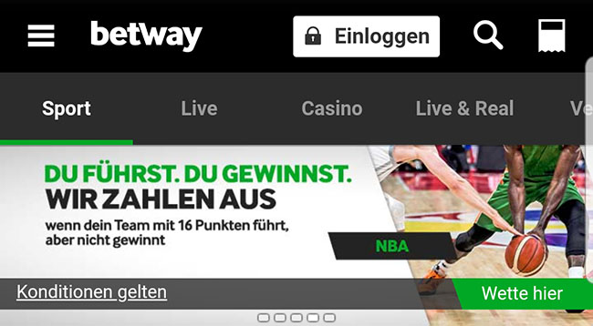Betway NBA Lead Cashout