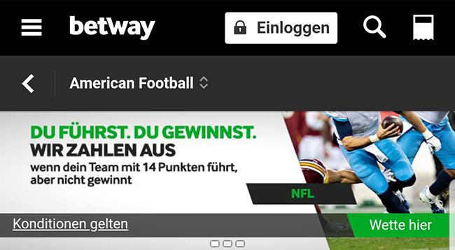 Betway NFL Lead Cashout