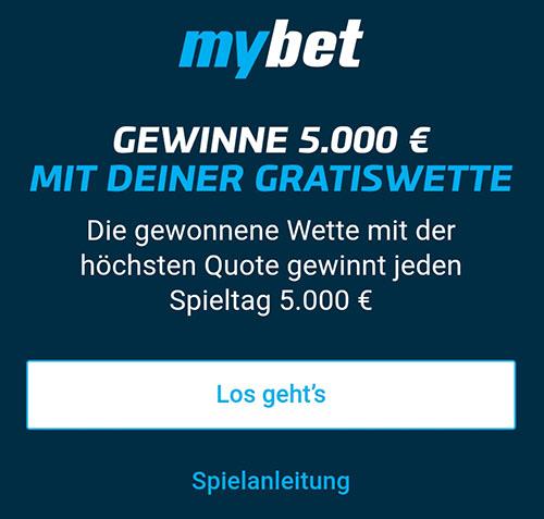 Mybet 5000 Euro Gewinnspiel