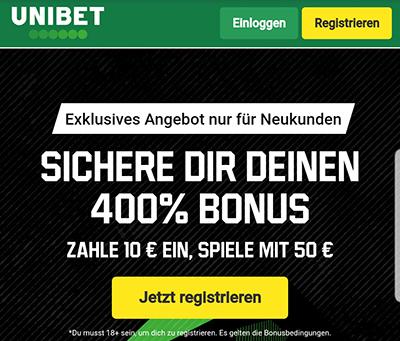 Unibet 400 Prozent Bonus