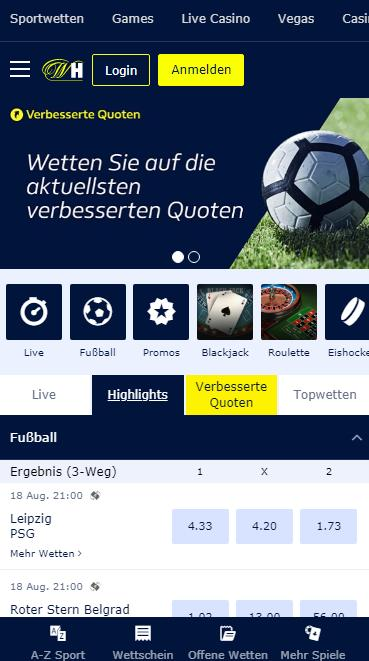 William Hill Mobile Wetten