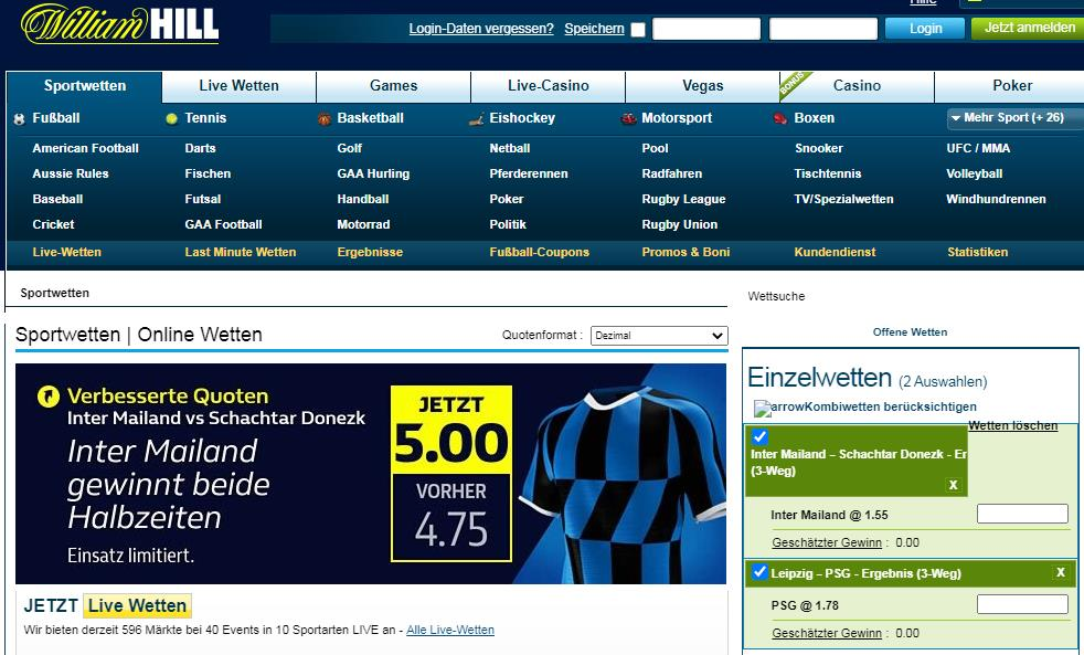 William Hill Hauptseite