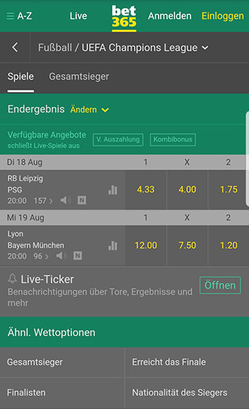 Bet365 Wettangebot Champions League