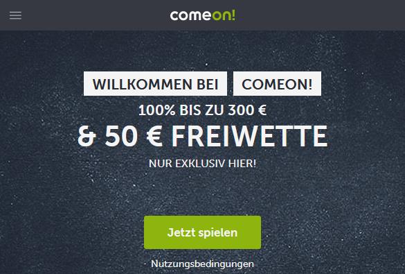 ComeOn Willkommensbonus Exklusiv