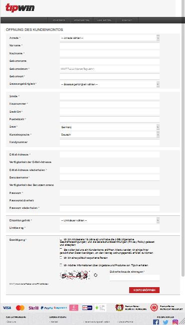 Tipwin Registrierung