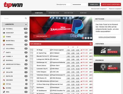 Tipwin Website - Screen