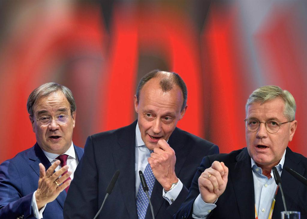 CDU Parteitag 2021 mit den drei Kandidaten für den Parteivorsitz