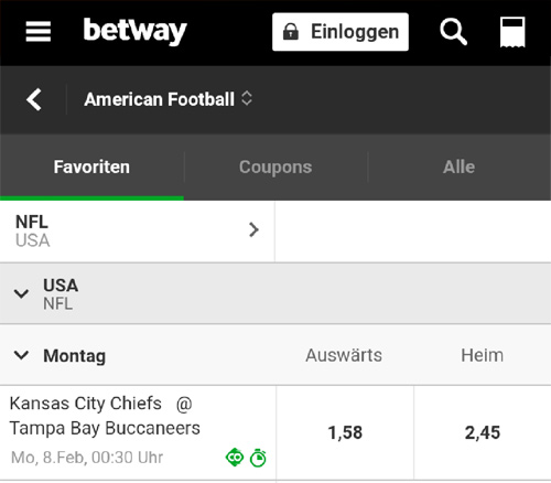 Betway Super Bowl Angebot