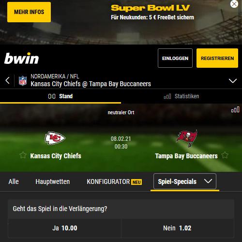 Bwin Super Bowl Angebot