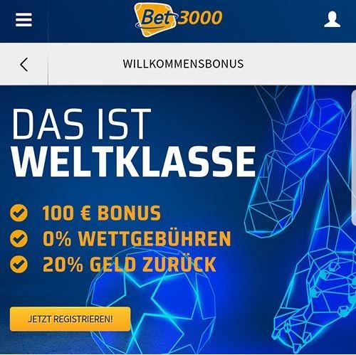Bet3000 Neukundenbonus