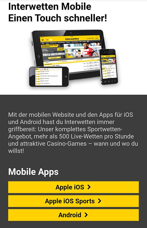 Interwetten App Android und iOS Download