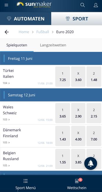 Sunmaker mobile Wetten - Der Wettabschluss