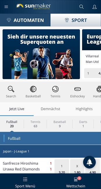 Sunmaker Web-App - mobile Sportwetten
