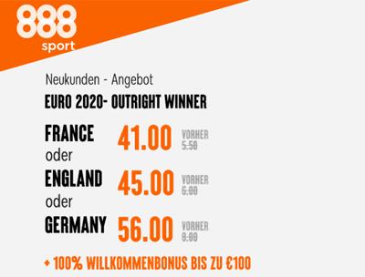 888Sport EM Europameister wetten - Mega Quoten