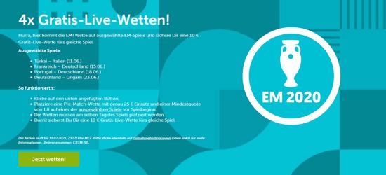 EM Gratis Livewette für die Deutschland Spiele