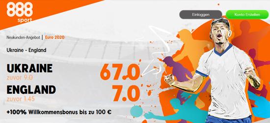888sport Ukraine - England Wetten Boost