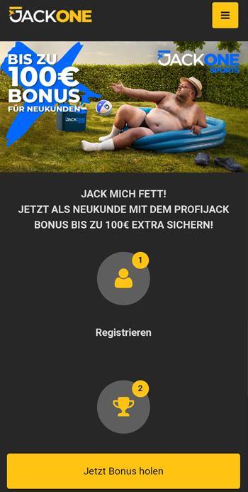 JackOne Bonus in der mobilen Ansicht