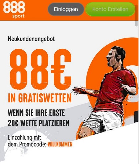 88€ Gratiswetten als 888 Sport Bonus